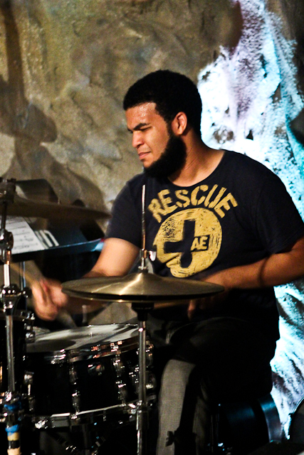 Kush Abadey on drums with the George Colligan Trio at Bohemian Caverns