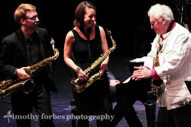 Lee Konitz, Brad Linde and Sarah Hughes on saxophone