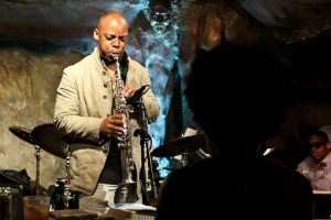 Serenading a silhouette: Marcus Strickland on saxophone at Bohemian Caverns