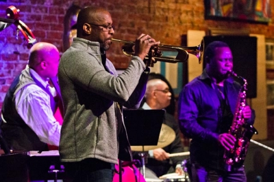 Michael Thomas, trumpet, with Antonio Parker, saxophone, Russell Sledge, bass and Keith Killgo, drums
