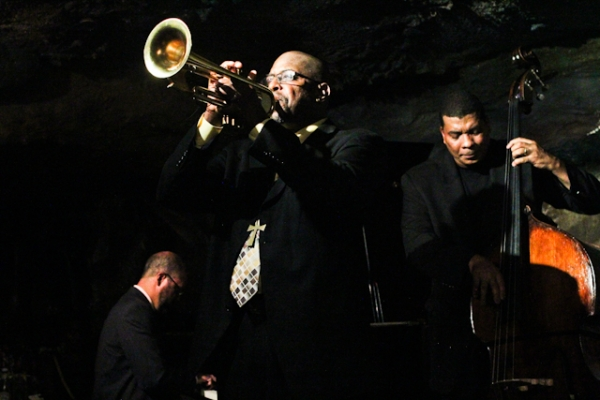Michael Thomas, trumpet, Darius Scott, piano, and Kent Miller, bass
