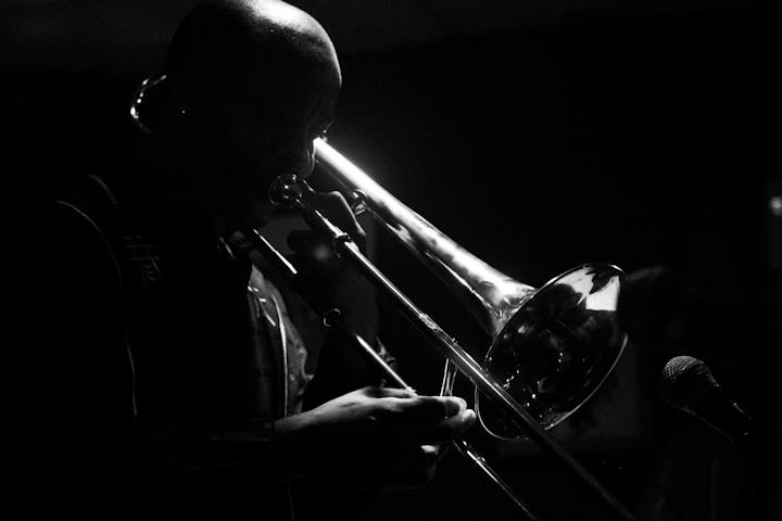 Reginald Cyntje on trombone with the Kenny Rittenhouse Quintet at Twins Jazz