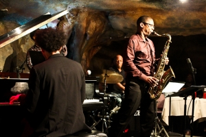 Ravi Coltrane, saxophone, E.J. Stickland, drums, and David Virelles, piano